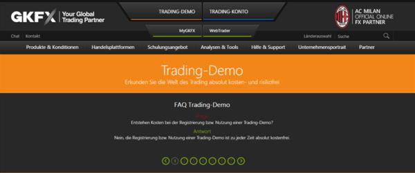 Mit dem GKFX Demo-Konto können erste Erfahrungen gesammelt werden